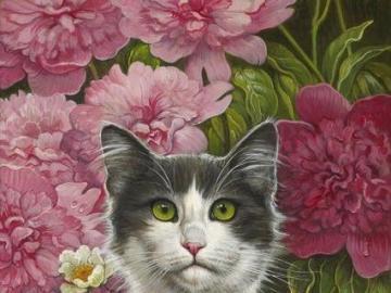 Gatos entre flores - Dos gatos sentados en un jardín de flores