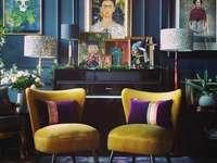 Salon w ciemnych kolorach - Zaprojektowany salon w ciemnych barwach