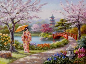 Paisaje japonés - Rompecabezas de paisaje.
