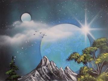 Artystyczny krajobraz górski - Sztuka krajobrazów, puzzle sztuka