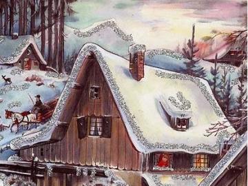 Zima a hrající si děti u mlýna - Zima a hrající si děti u mlýna