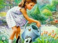 Mädchen Blumen gießen