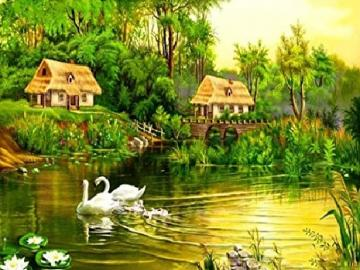 Landscape with a pond. - Puzzle. Landscape with a pond.