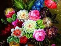 Многоцветни цветя във ваза