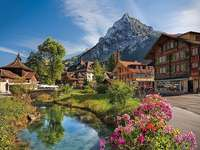 Alpejski krajobraz. - Układanka krajobrazowa.