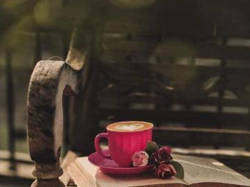 Fleurs de livre de tasse de café - Fleurs de livre de tasse de café