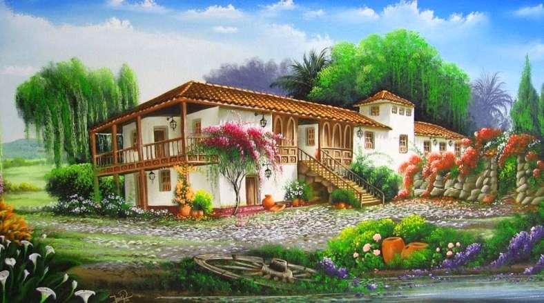 Hacienda - Αγρόκτημα. Τοπίο παζλ. Hacienda, δέντρα, λουλούδια, ουρανός, τοπίο (11×9)
