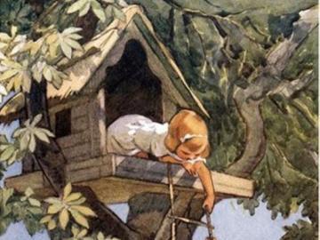 Děti si postavily budku na stromě