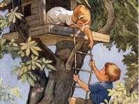 Děti si postavily budku na stromě - Děti si postavily budku na stromě
