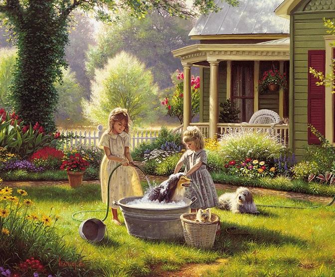 În grădina de acasă.