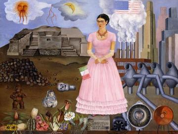 Frida Kahlo - Frida Kahlo - Self-portrait on the border between Mexico and the United States