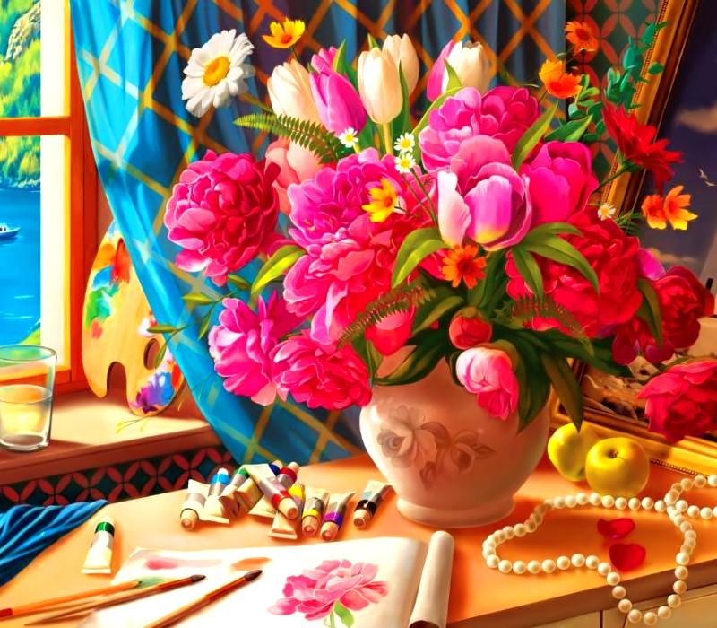 În camera artistului - Buchet frumos de flori. Punem puzzle-uri în camera artistului. Este un peisaj frumos cu flori (8×7)
