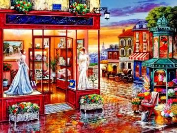 Shop for wedding dresses - We arrange the puzzle shop with wedding dresses.