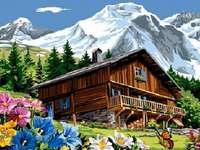Chata w górach. - Układanka krajobrazowa.