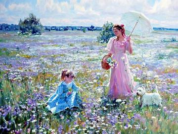 Painting. - Art. Painting. On a colorful meadow.