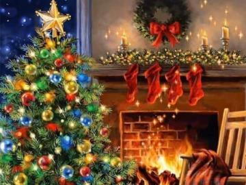 Christmas tree, cat and dog - Christmas tree, cat and dog
