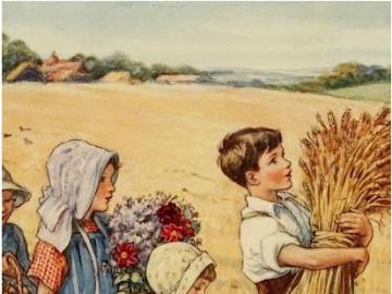 Děti s úrodou, asi jdou na trh - Děti s úrodou, asi jdou na trh