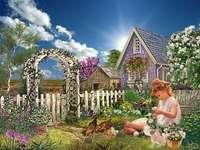 Egy gyermek a kertben. - Egy gyerek az udvaron. Táj puzzle. Lány a ház előtt virágokkal és egy kosárral.