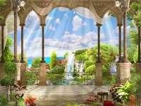 Kilátás a teraszról. - Image romantique. Táj puzzle. Romantyczny obrazek.