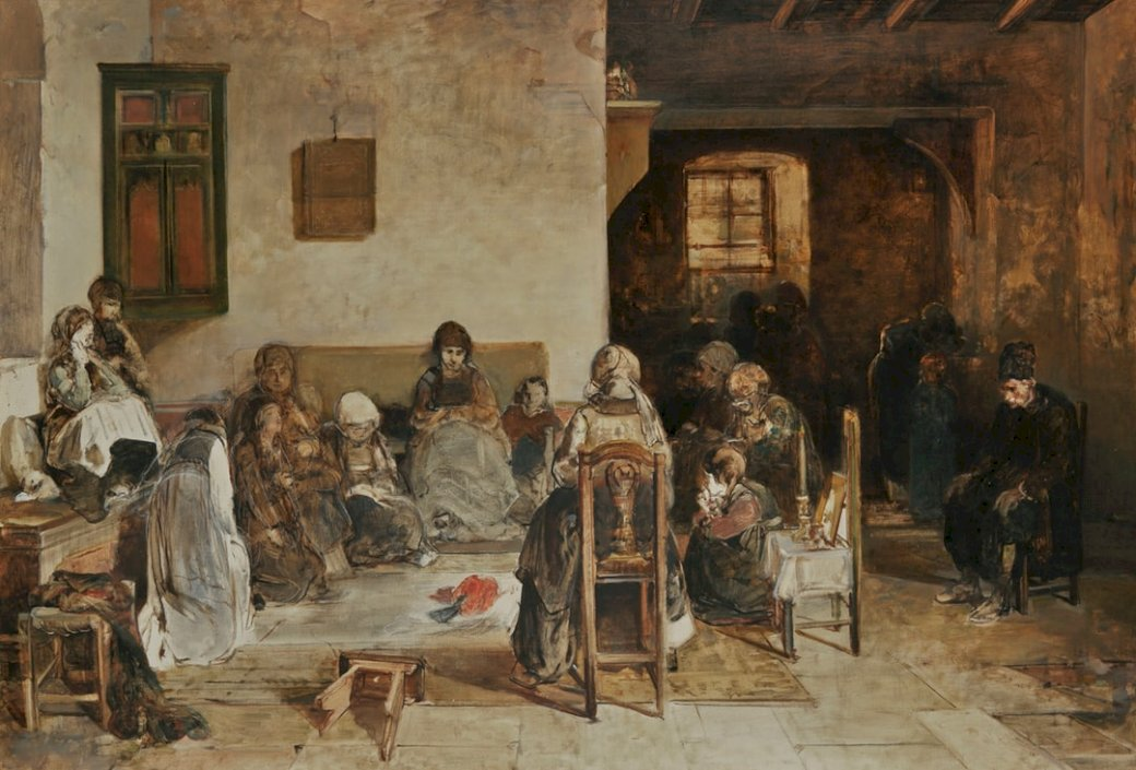 Dirge em Psara - As pessoas se sentam em uma pintura de cadeira (15×15)