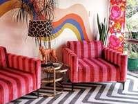 Salón salvaje en colores - Organizar la sala de estar en diferentes colores.
