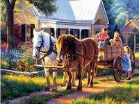 Wycieczka wozem konnym. - Układanka krajobrazowa.