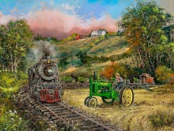 Landscape with a train. - Landscape puzzle.