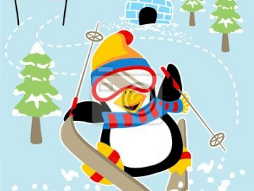 Ski-themed puzzle - Ski puzzle for a treasure hunt with 3-6