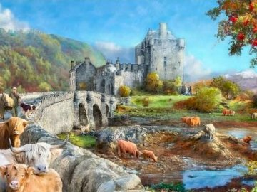 Painting. - Jigsaw puzzle. Old England painted.
