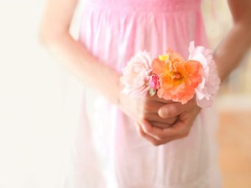 Girl with a pretty bouquet - Girl holding flowers.