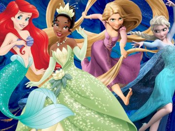 Ariel tiana roszpunka i elsa - Tina księżniczka i zaba elsa kraina lodu  roszpunka zaplatani  Ariel mała syrenka