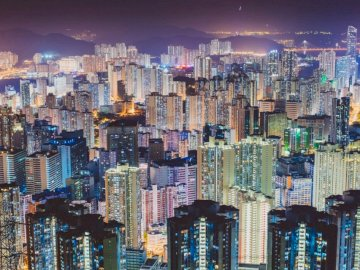 Density 1 - Aerial photography of cities scape during night. Hong Kong