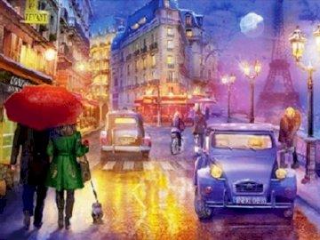 In the evening in Paris. - Puzzle: at dusk in Paris.