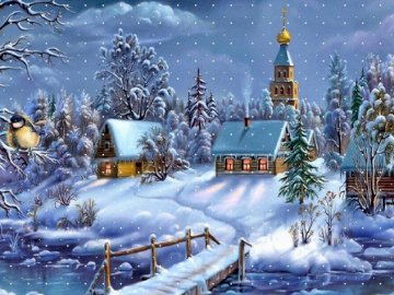 Snowy town - Town surrounded by snow