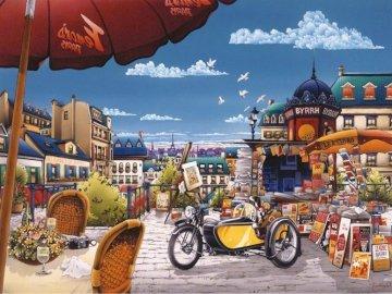 Auf dem Stadtplatz. - Landschaftspuzzle.