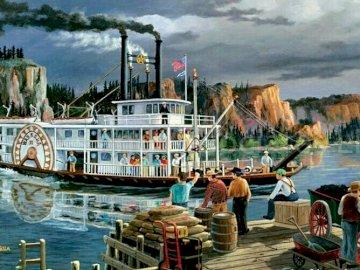 Bootsfahrt. - Landschaftspuzzle.
