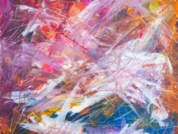 Paintings from my twelve year - Multicolored scratch abstract painting. Upper Franconia, Bavaria, Germany