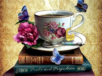 Cup with hot tea on the books - Cup with hot tea on the books