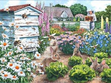 In einem ländlichen Garten. - Landschaftspuzzle.