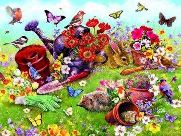 In the garden. - Puzzle for children: in the garden.