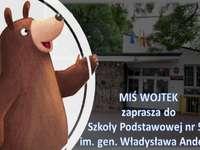 Miś Wojtek zaprasza do SP57 - Puzzle zostały stworzone w ramach Dnia Otwartego  Szkoły Podstawowej nr 57 im. gen. Władysława A