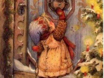dívenka klepe klepátkem na dveře - dívenka klepe klepátkem na dveře