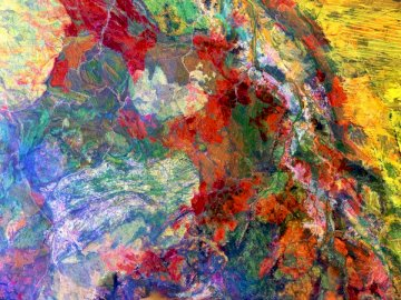 This enhanced image of Western - Yellow red and blue abstract painting. United States