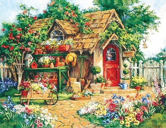 En un jardín pintado.