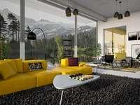 Sala de estar com um sofá amarelo