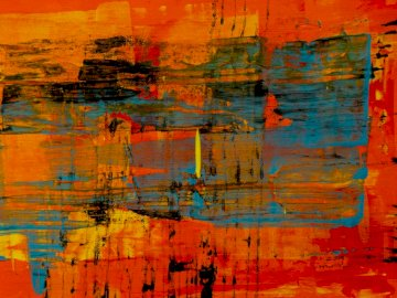 Abstract painting - Orange blue and yellow abstract painting. Valparaiso Indiana USA