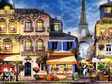 Gassen von Paris. - Landschaftspuzzle.