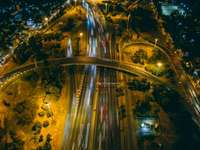 Night lights - Time-lapse photography of vehicle on road. Argentina