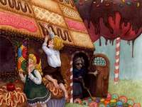 Hansel & Gretel - Grimm's tale, where we see the children eating the witch's house