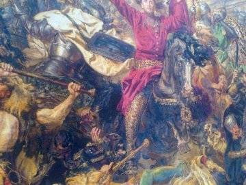 Bataille de Grunwald - peinture de Jan Matejko brodée au point de croix